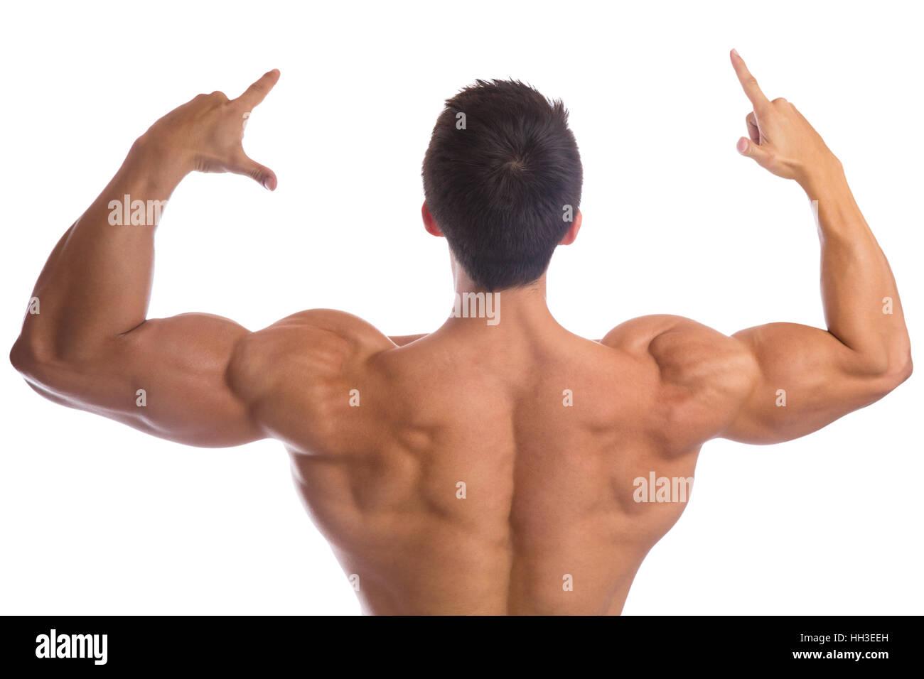 Bodybuilder bodybuilding muscoli posteriore muscolare forte isolato su uno sfondo bianco Immagini Stock