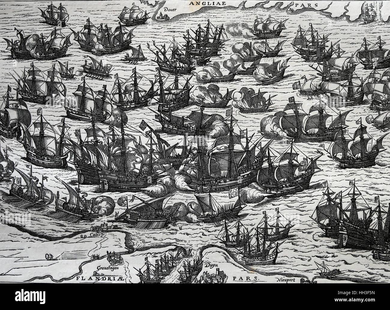 Armada spagnola. La flotta spagnola di 130 navi con lo scopo di invaso in Inghilterra. Incisione di copia di un Immagini Stock