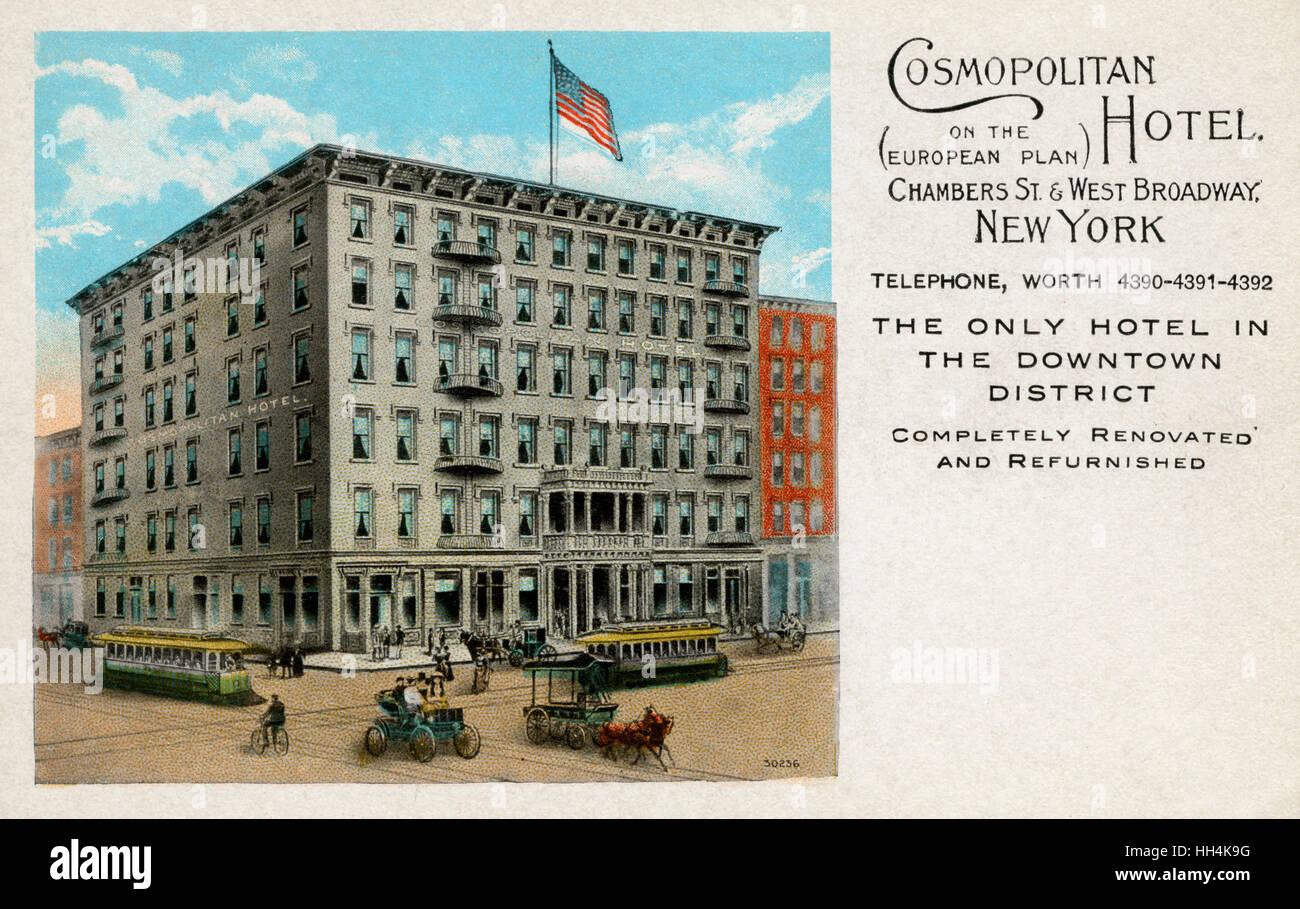 Il Cosmopolitan Hotel all angolo delle camere Street e West Broadway a New  York City fa9df142400e