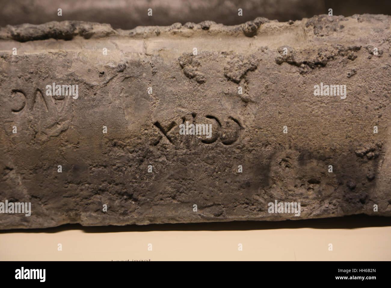 Hispania romana. Lingotto di piombo. 1 ° secolo. Miniere di Linares-La Carolina, Sierra Morena montagne, Spagna. Immagini Stock