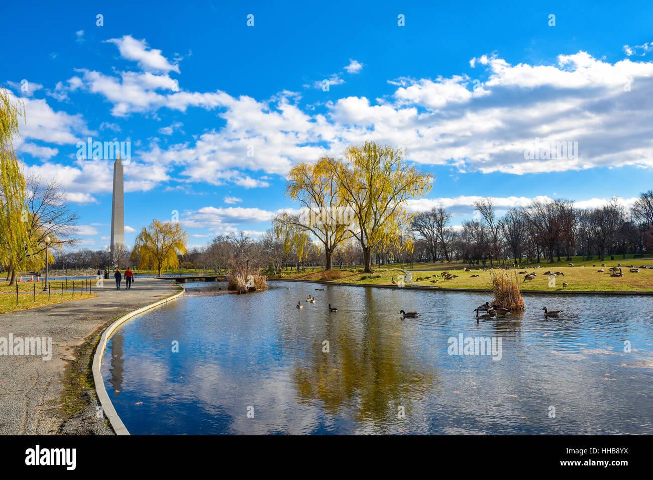 Washington DC, Stati Uniti d'America. Vista del Monumento di Washington dalla Costituzione giardini vicino alla Foto Stock