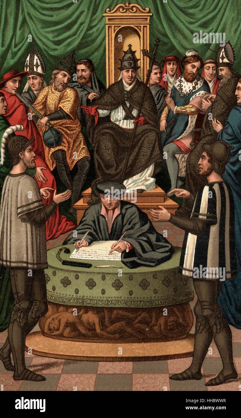 Due Cavalieri tenendo un argomento circa l Immacolata Concezione. Medioevo Immagini Stock