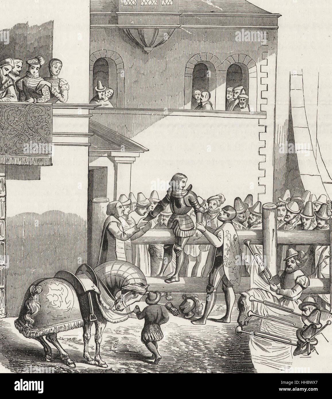 La degradazione di un Cavaliere - Un rituale in cui un cavaliere è spogliato della sua posizione a causa di Immagini Stock