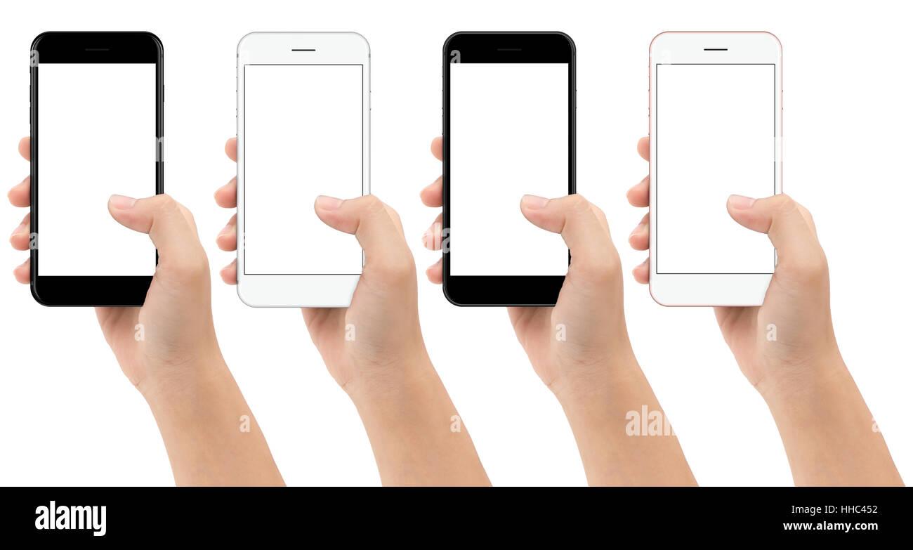 Mano Azienda Telefono Cellulare Isolato Su Sfondo Bianco Tracciato