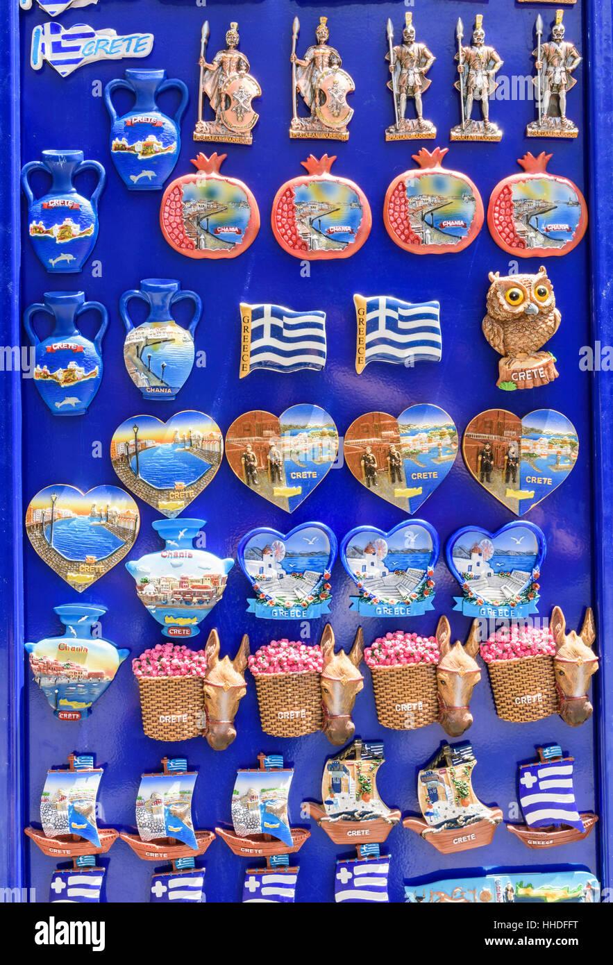 Grecia tourist gingillo magneti per il frigo, Chania, Creta, Grecia Immagini Stock