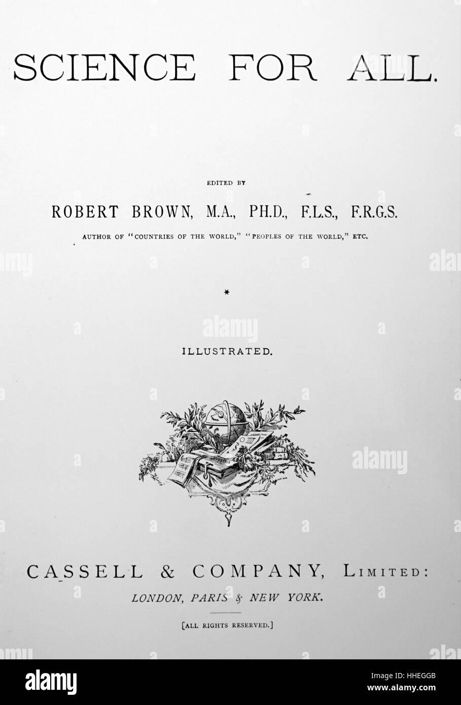 """Titolo pagina del primo volume di Robert Brown's 'Scienza per tutti"""" Immagini Stock"""