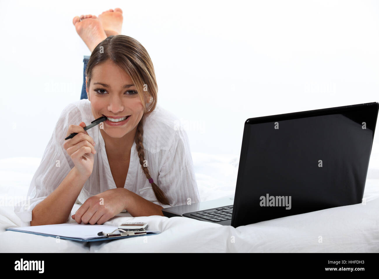 Donna, laptop, notebook, computer, computer, scrivere, scrisse, scrittura, scrive, Immagini Stock