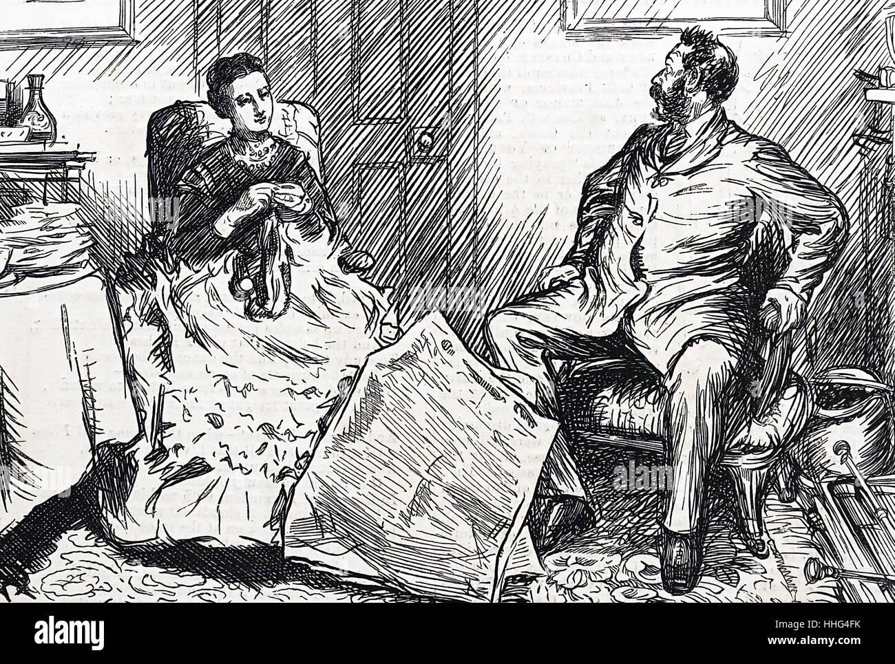 Un marito e una moglie discutere di questioni sociali e politiche in Inghilterra vittoriana 1874. Immagini Stock