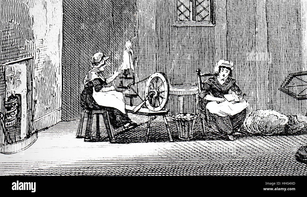 Donne lavoratori tessili in un cottage in Galles Immagini Stock