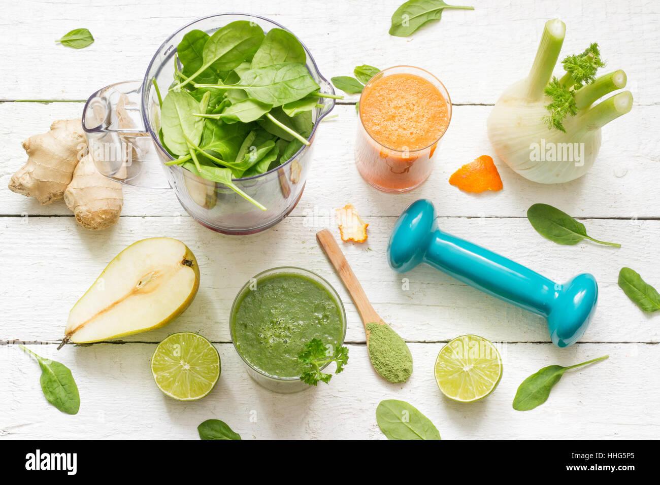 Frutta e verdura, smoothie, blender, abstract salute Dieta concetto di stile di vita Immagini Stock