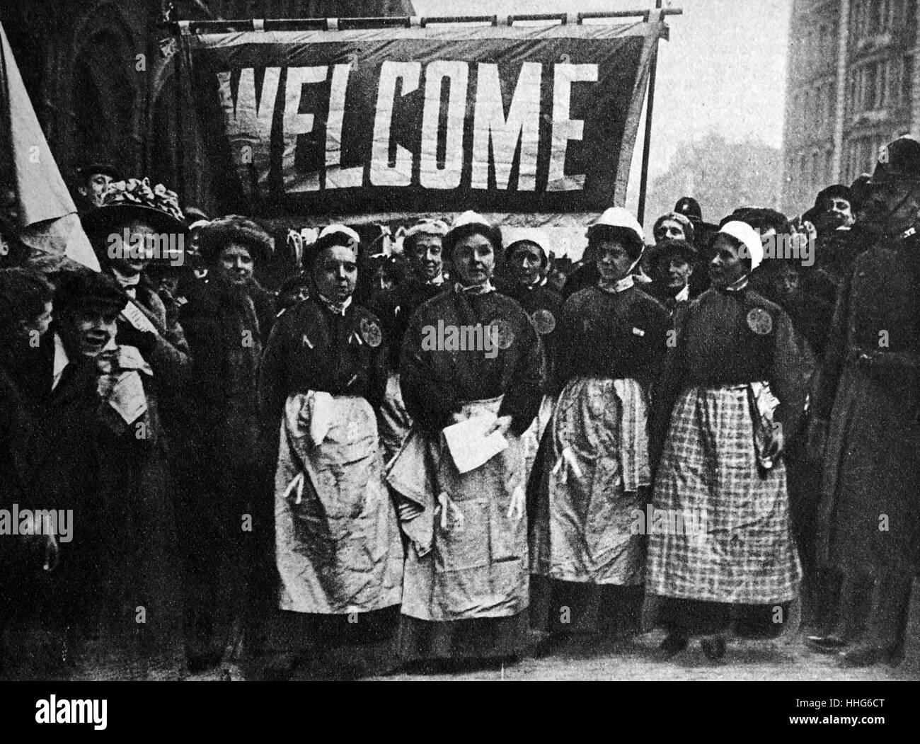British Suffragettes. 1910 Immagini Stock