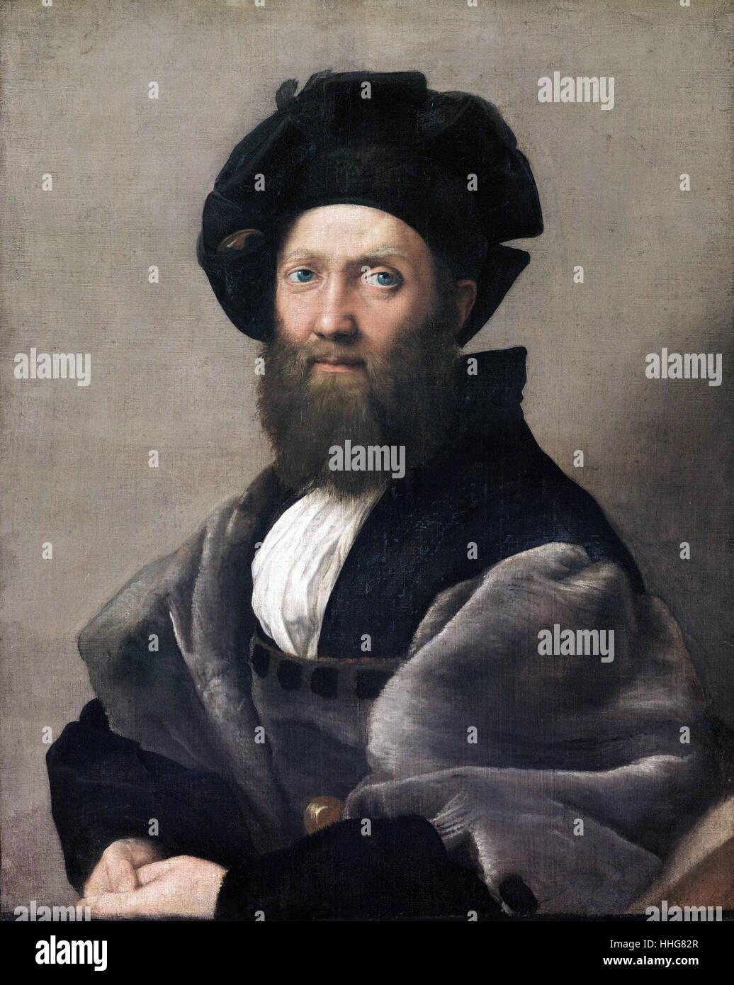 Ritratto di Baldassare Castiglione. 1515; il dipinto a olio su tela, dall'Italian High Renaissance artista (Raffaello) Immagini Stock