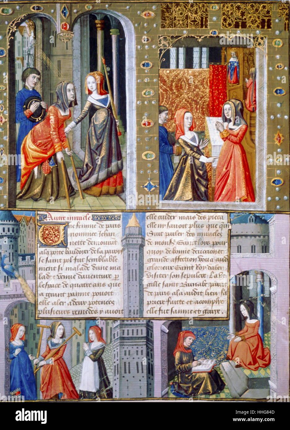 Le scene di vita quotidiana in Francia nel medioevo, XV secolo; Immagini Stock