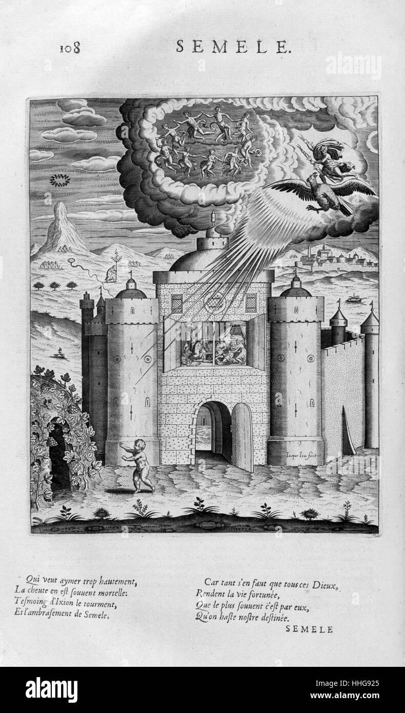 Semele. Piastra da immagini Les Tableaux ou . Incisione di circa 1615 Immagini Stock