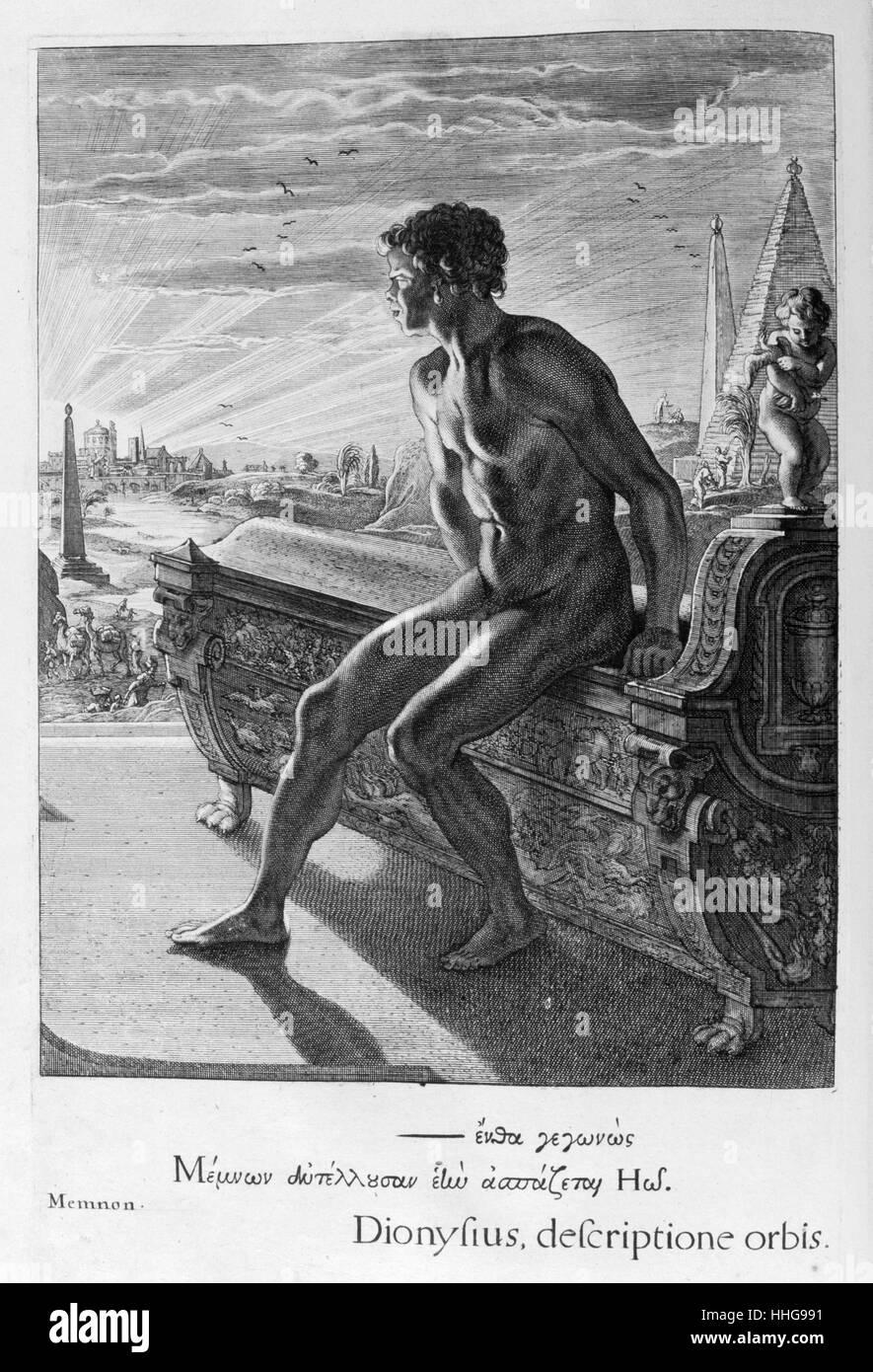 La statua di Memnone. Piastra da Les Images Ou tableaux de Platte Peinture Immagini Stock