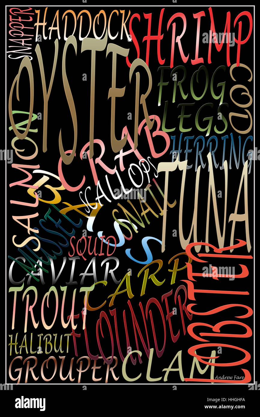 Arte parola di frutti di mare,seafood tipografia, Immagini Stock