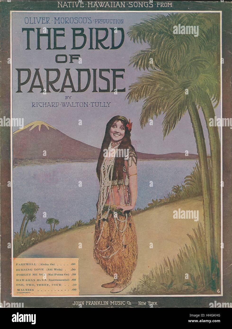 """''L'uccello del paradiso"""" 1912 Foglio musicale coperchio di musica Immagini Stock"""