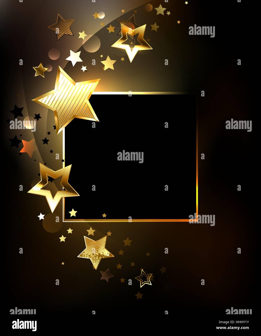 Square banner con oro, gioielli lucenti stelle su uno sfondo nero. Design con le stelle. Golden Star. Immagini Stock