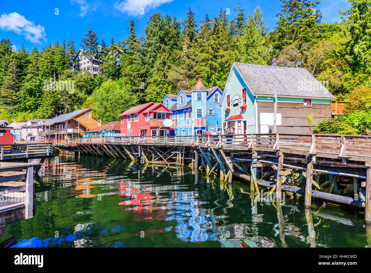 Ketchikan, Alaska. Creek Street, la storica broadwalk. Immagini Stock