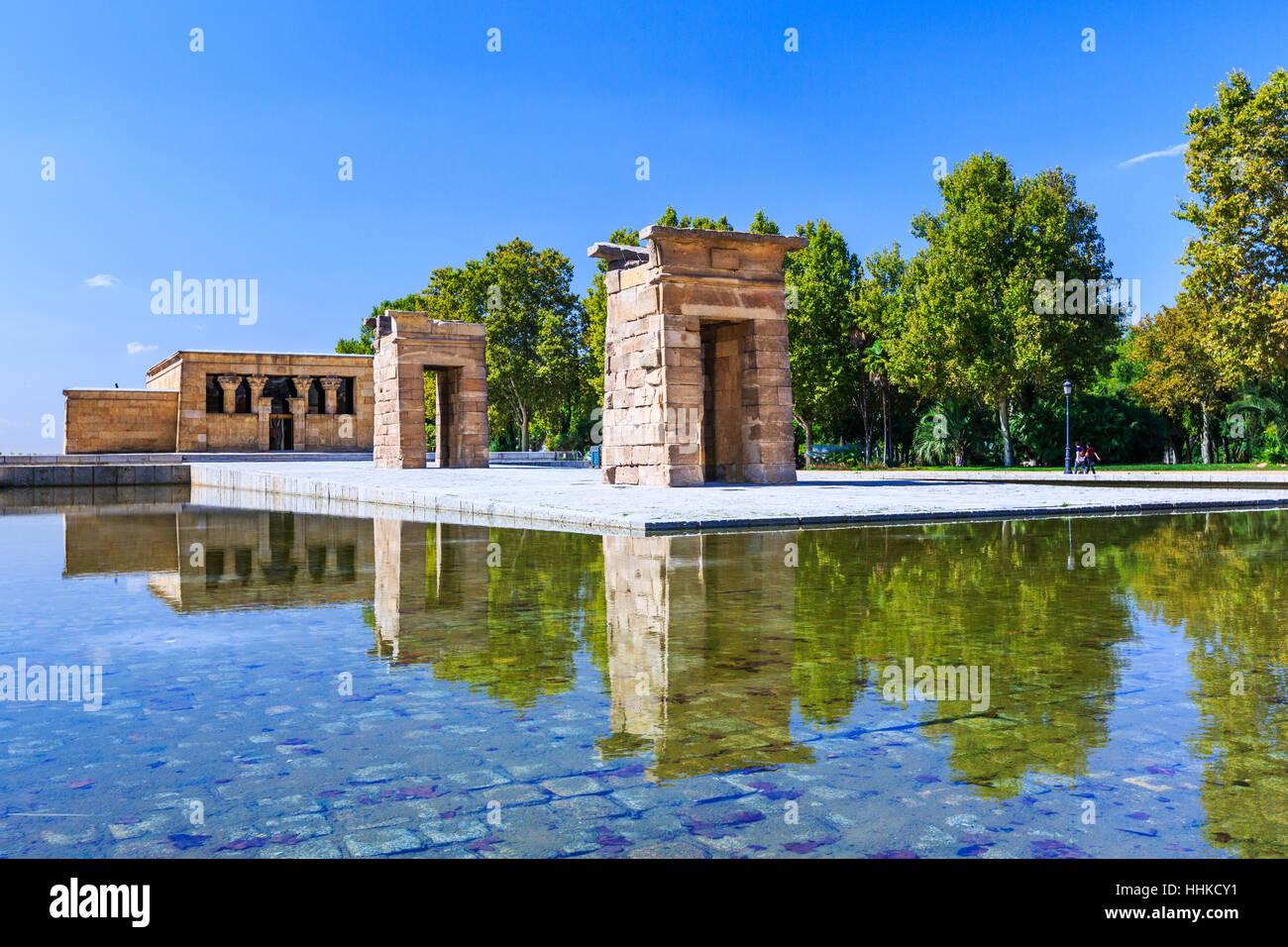 Madrid, Spagna. Il Tempio di Debod (Templo de Debod) un antico tempio Egizio. Immagini Stock