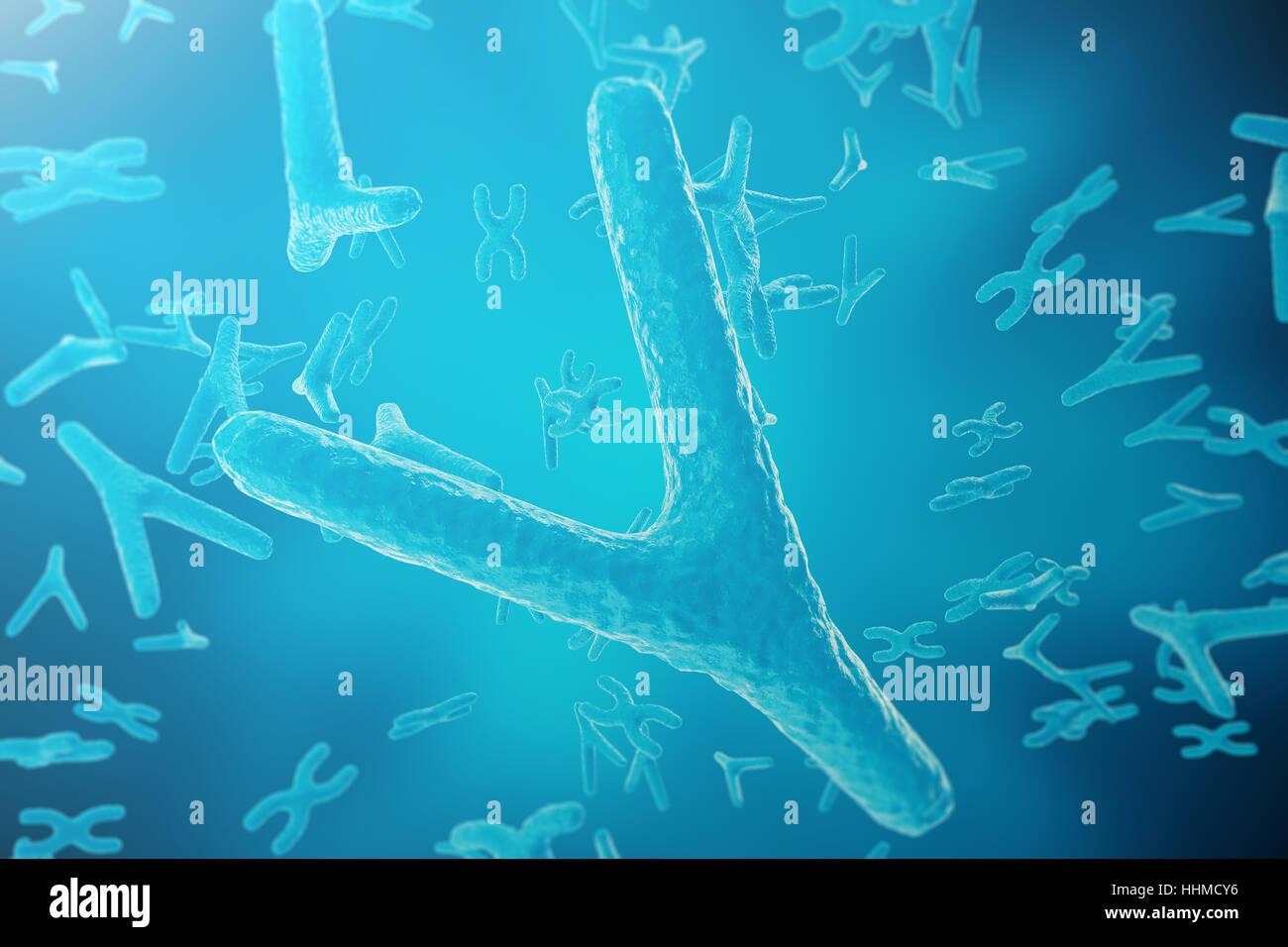 La scienza lo sfondo con cromosomi. Medicina concetto scientifico. Il rendering 3D Immagini Stock