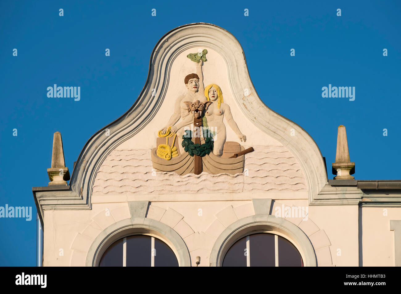 Gable, Hotel Germania, Bäder architettura, architettura resort, Bansin, Usedom, Meclemburgo-Pomerania, Germania Immagini Stock