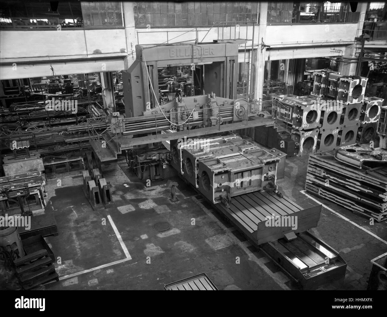 1930 - 40. Fiat - Ansaldo grande fabbrica di motori in Genova San Pier d'Arena, sanpierdarena, Italia. Immagini Stock