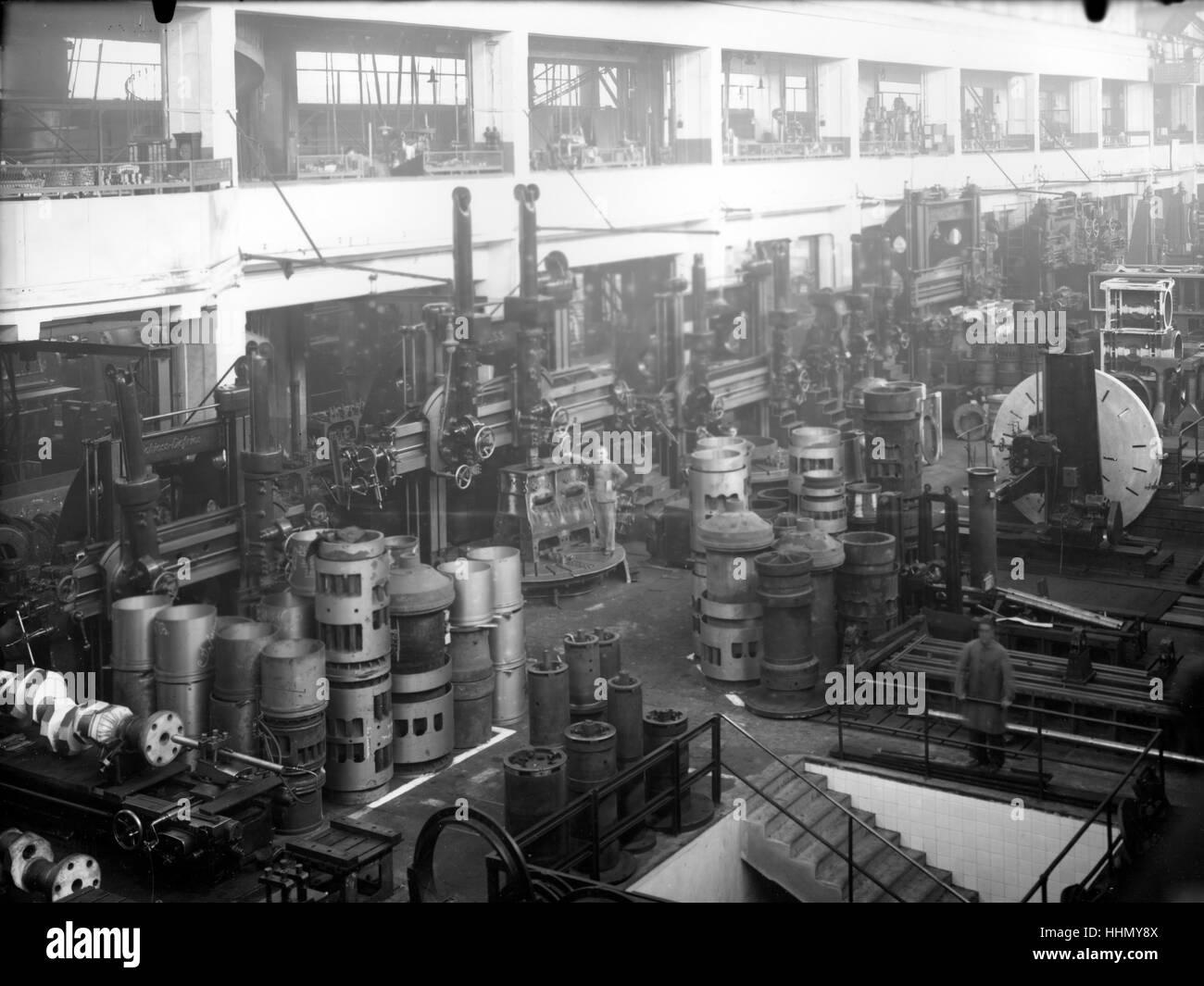 1930 - 40. Fiat - Ansaldo grande fabbrica di motori in Genova San Pier d'Arena, sanpierdarena. Foto Stock