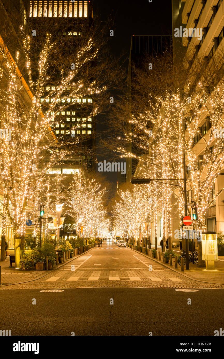 Le Luminarie a Marunouchi, Tokyo, Giappone Immagini Stock