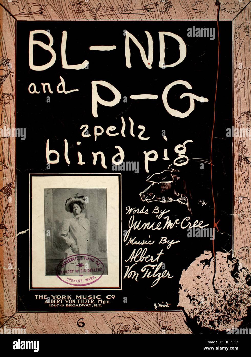 Foglio di musica immagine copertina della canzone 'Bl-nd e P-g incantesimi di maiale cieco', con paternitã Immagini Stock