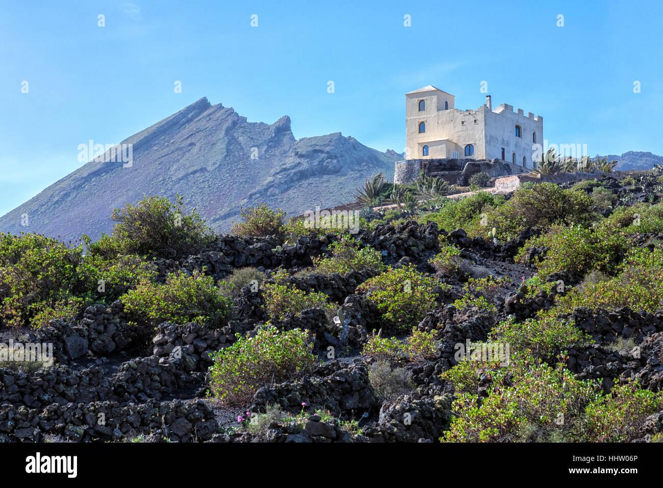 Monto Corona, Haria, Lanzarote, Isole Canarie, Spagna Immagini Stock