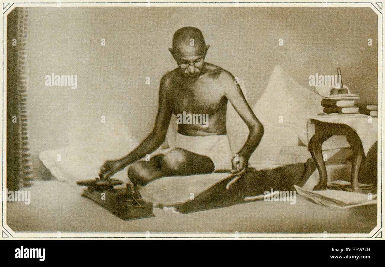 Il Mahatma Gandhi (2 ottobre 1869 - 30 gennaio 1948), figura di primo piano nel Indian movimento di indipendenza. Immagini Stock