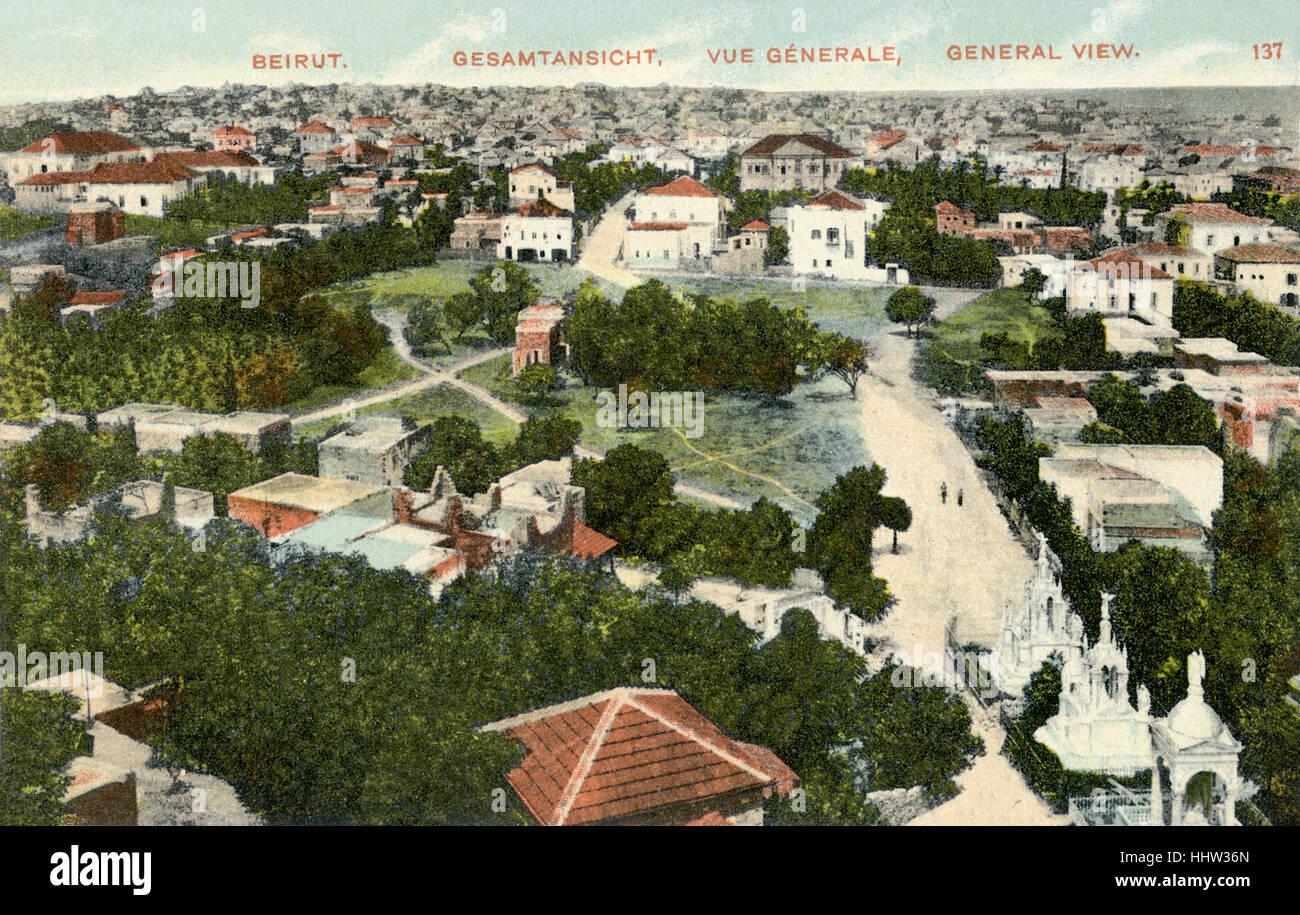 Beirut, Libano, inizio del XX secolo la cartolina. Immagini Stock