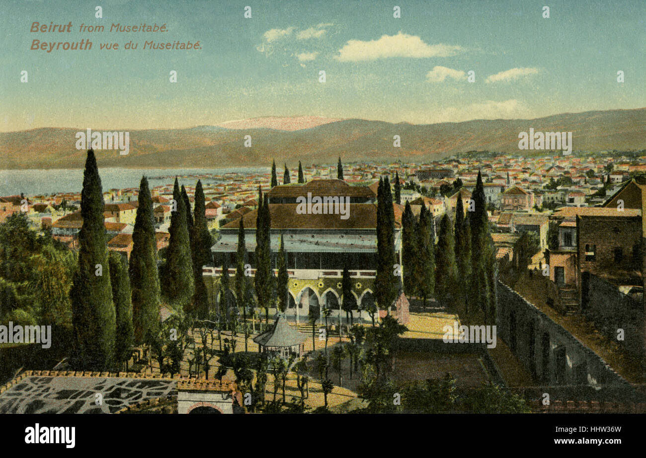 Beirut, Libano. Inizio del XX secolo la cartolina. Immagini Stock