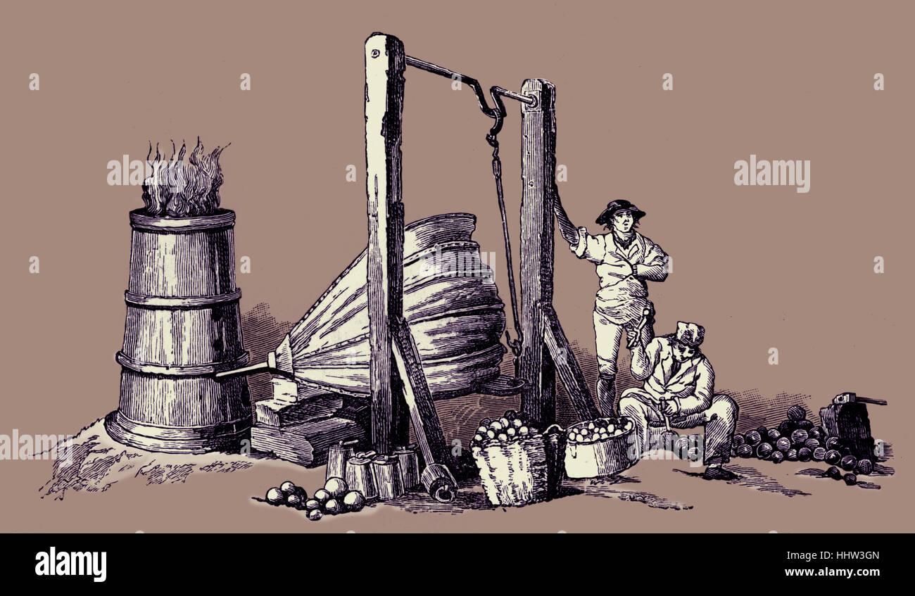 """La colata le palle di cannone, Londra. Da Pyne 'Microcosm"""" 1803-1806 Immagini Stock"""