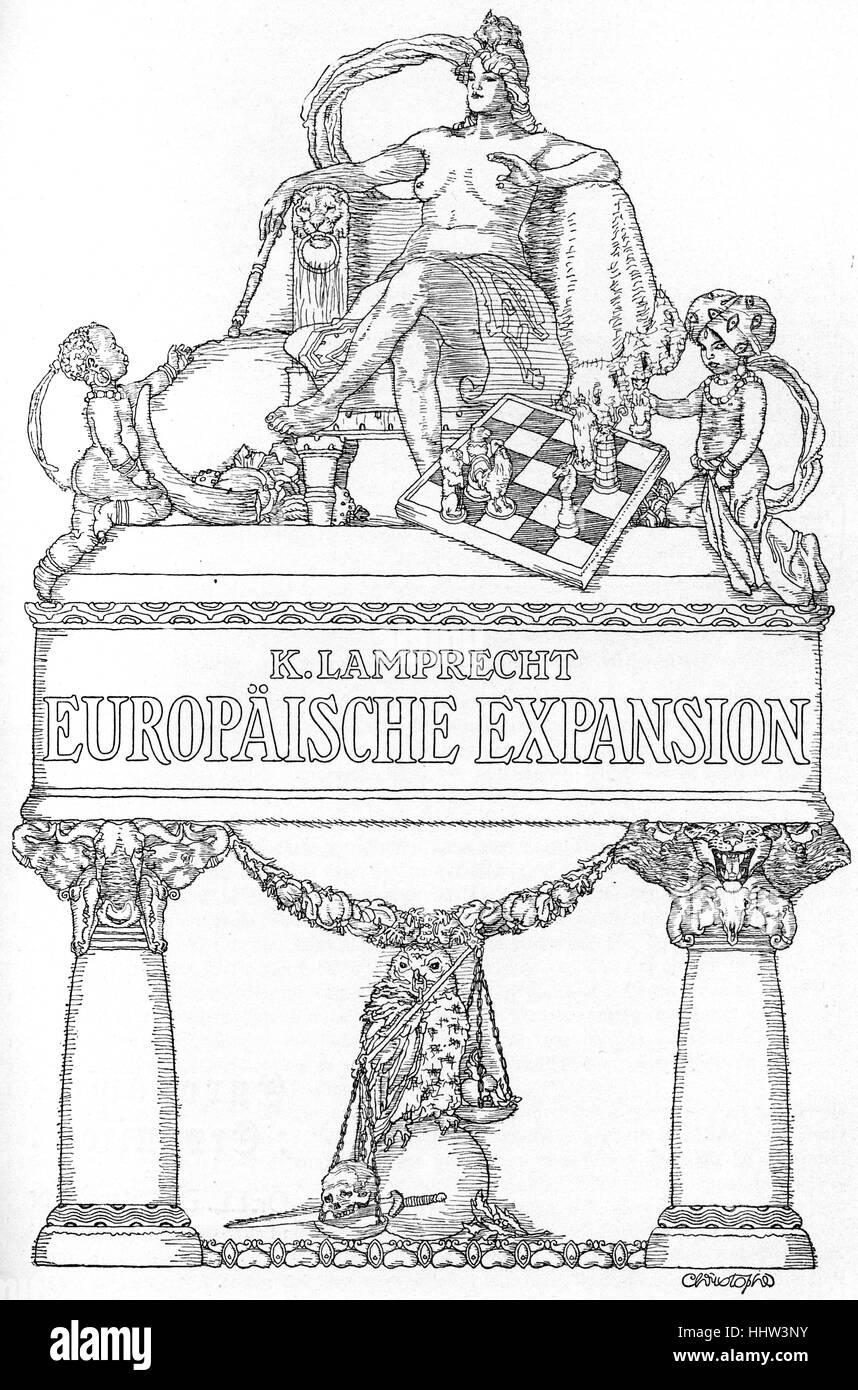 Cartoon allegorico di 'espansione europea' raffigurante Europa come una imperatrice e Africa e India come Immagini Stock