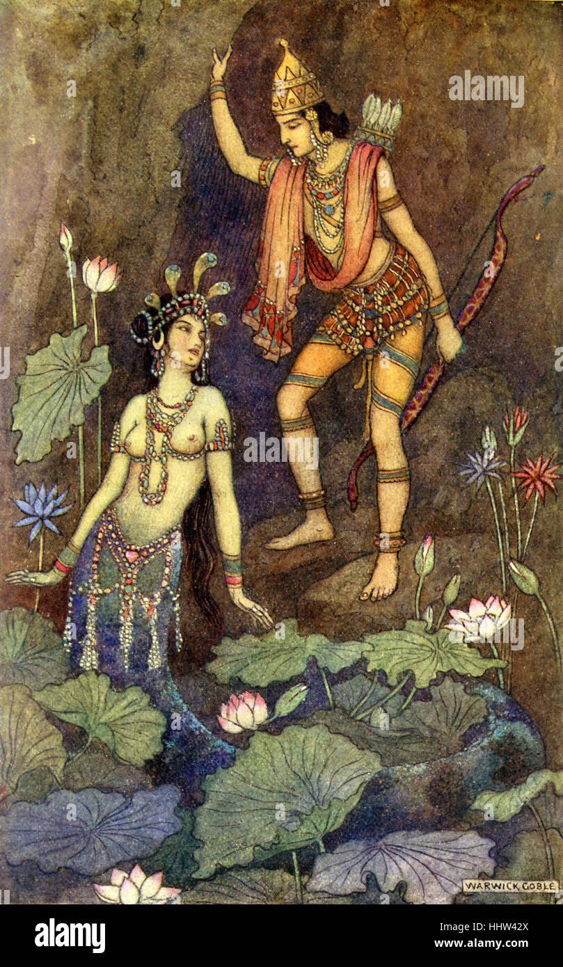 Indian mito e leggenda: Arjuna e il fiume Ninfa. Illustrazione dopo un dipinto di Warwick Goble, Illustratore Inglese Immagini Stock