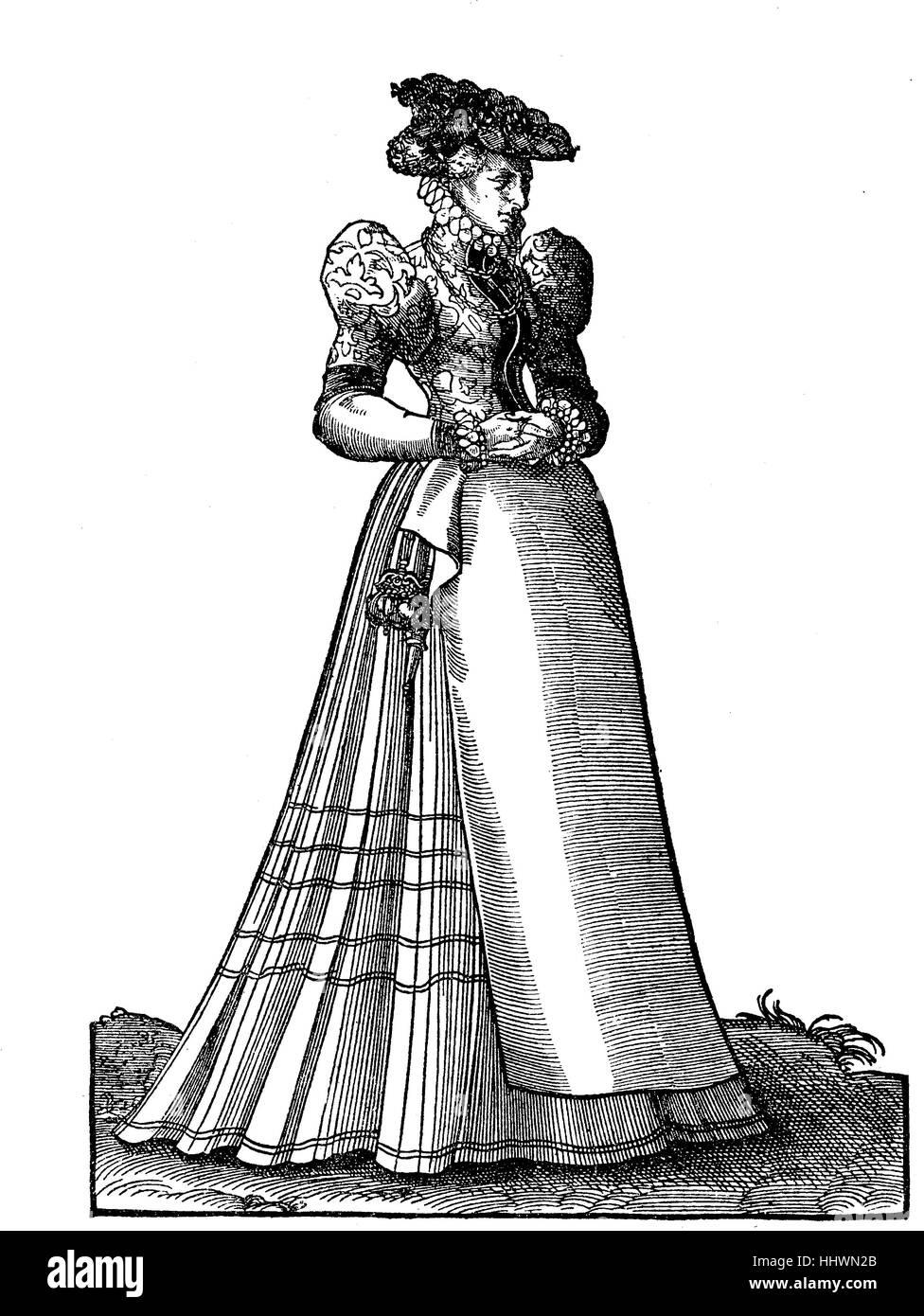 I vestiti, il costume di una vergine della nobiltà in Alsazia, Francia, xilografie di Jost Amman da Hans Weigels Immagini Stock