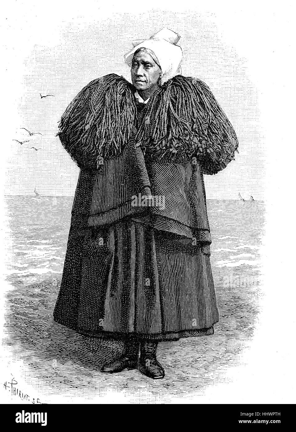 Folklore francese, il lutto di un fisherwoman dalla zona di Sables-d'Olonne, immagine storica o illustrazione, Immagini Stock