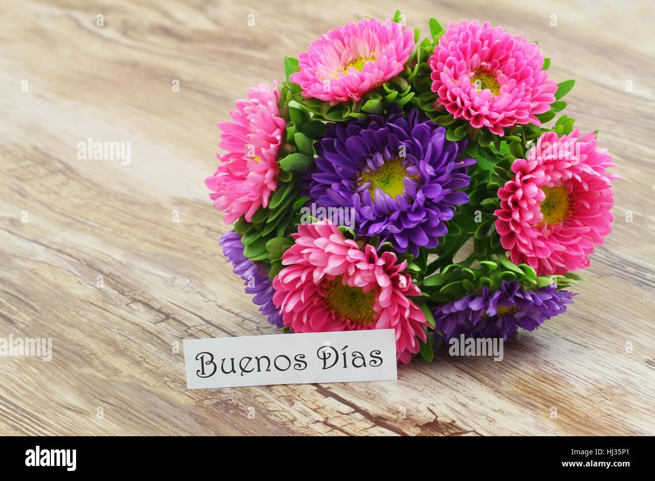 Mazzo Di Fiori In Spagnolo.Buenos Dias Buona Mattina In Spagnolo Card Con Colorati Daisy