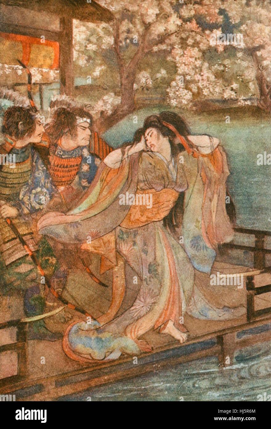 La Fanciulla di Unai, folclore giapponese Immagini Stock