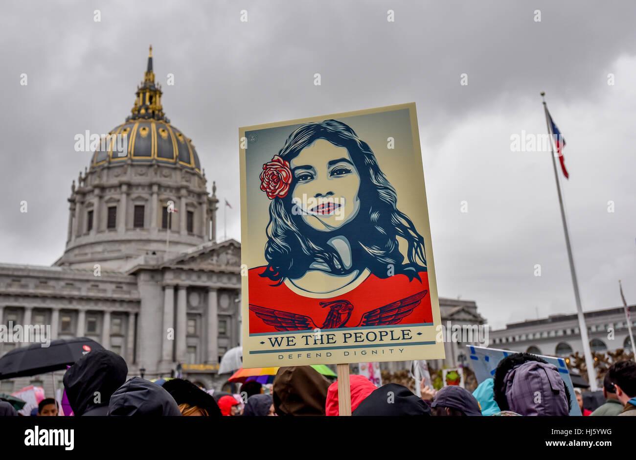 San Francisco, California, Stati Uniti d'America. Il 21 gennaio, 2017. Le donne di marzo - Latina raffigurato Immagini Stock