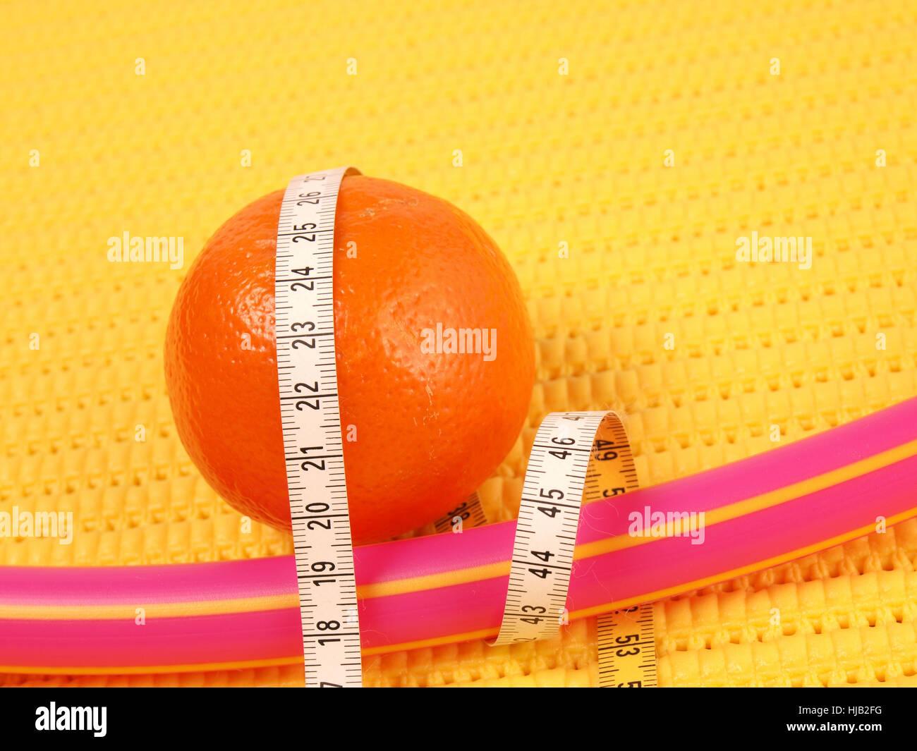 Sport, Sport, frutta, dieta, arancio, metro a nastro, il pittogramma, simbolo Immagini Stock