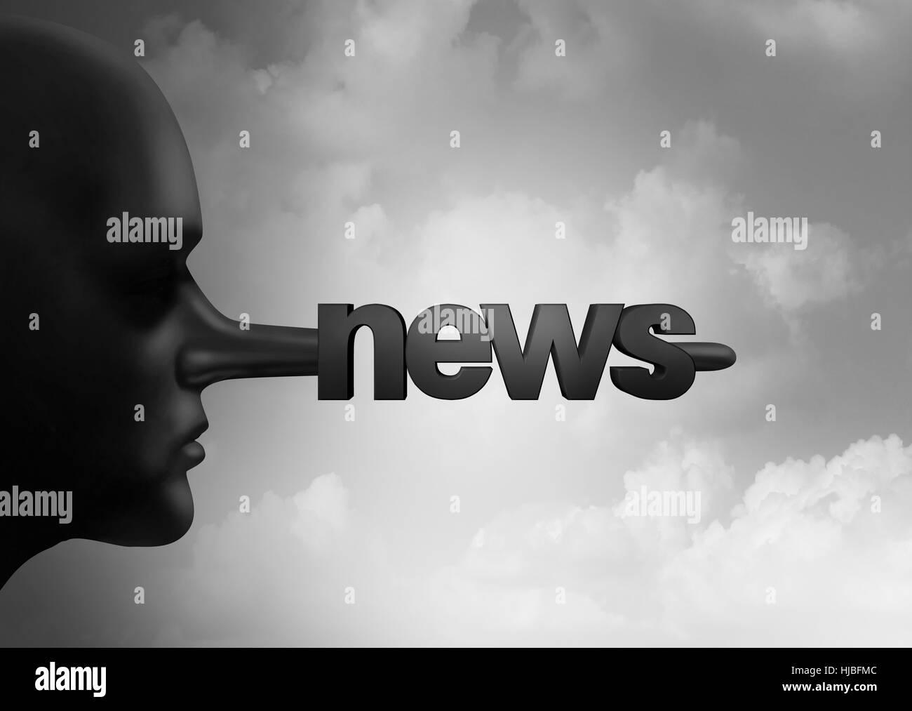 Fake news concept e hoax segnalazione giornalistica come una persona con un lungo naso bugiardo conformato come Immagini Stock