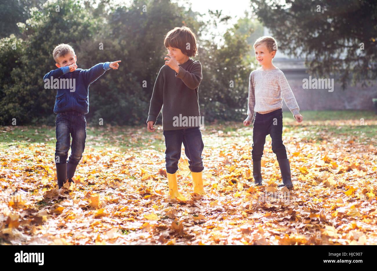 Tre ragazzi giocare all'aperto, in foglie di autunno Immagini Stock