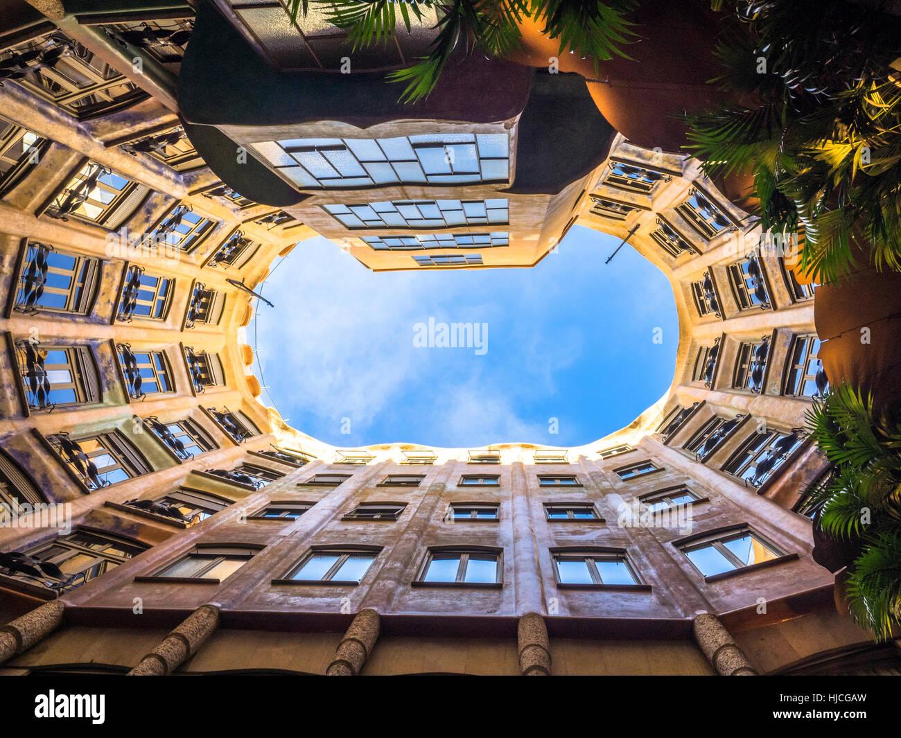 Casa Milá conosciuta come La Pedrera - Barcellona, Spagna. Immagini Stock