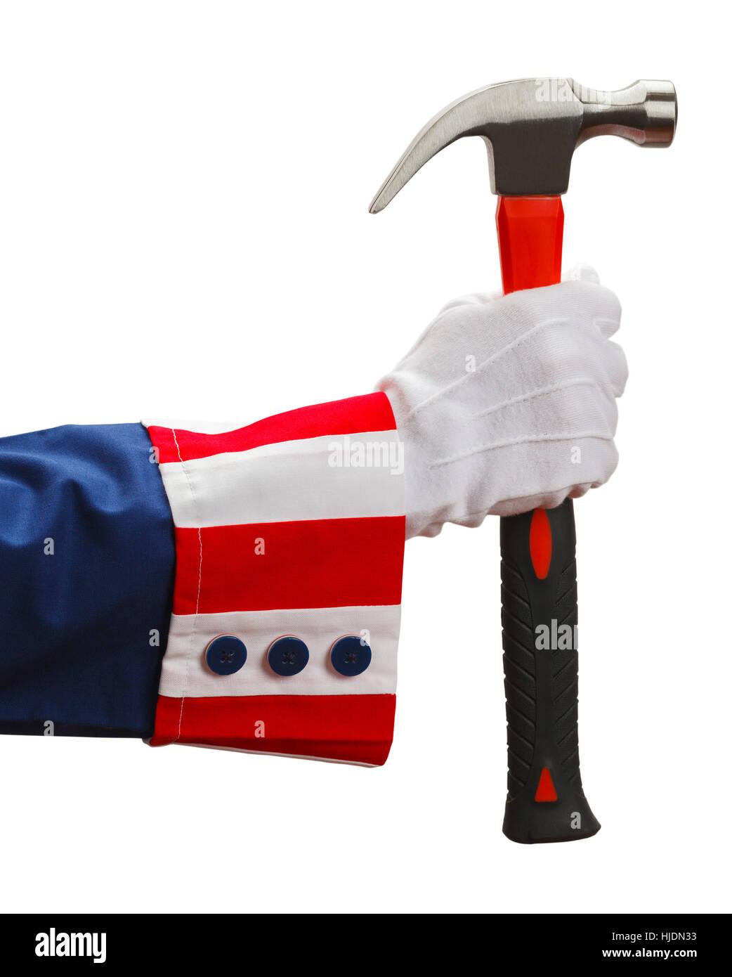 Presidente tenendo un martello isolati su sfondo bianco. Immagini Stock