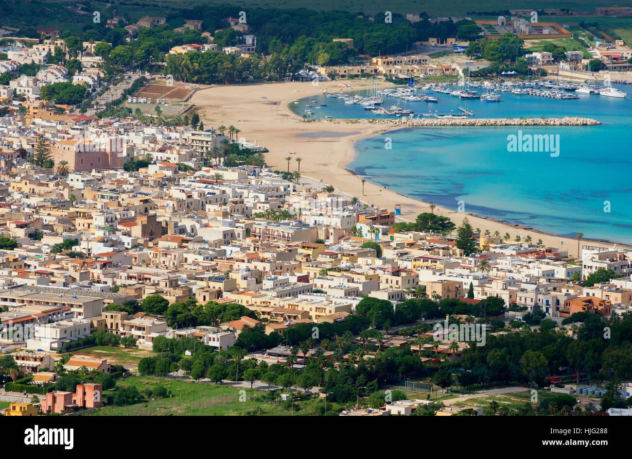 San Vito lo Capo, vista aerea, Sicilia, Italia Immagini Stock