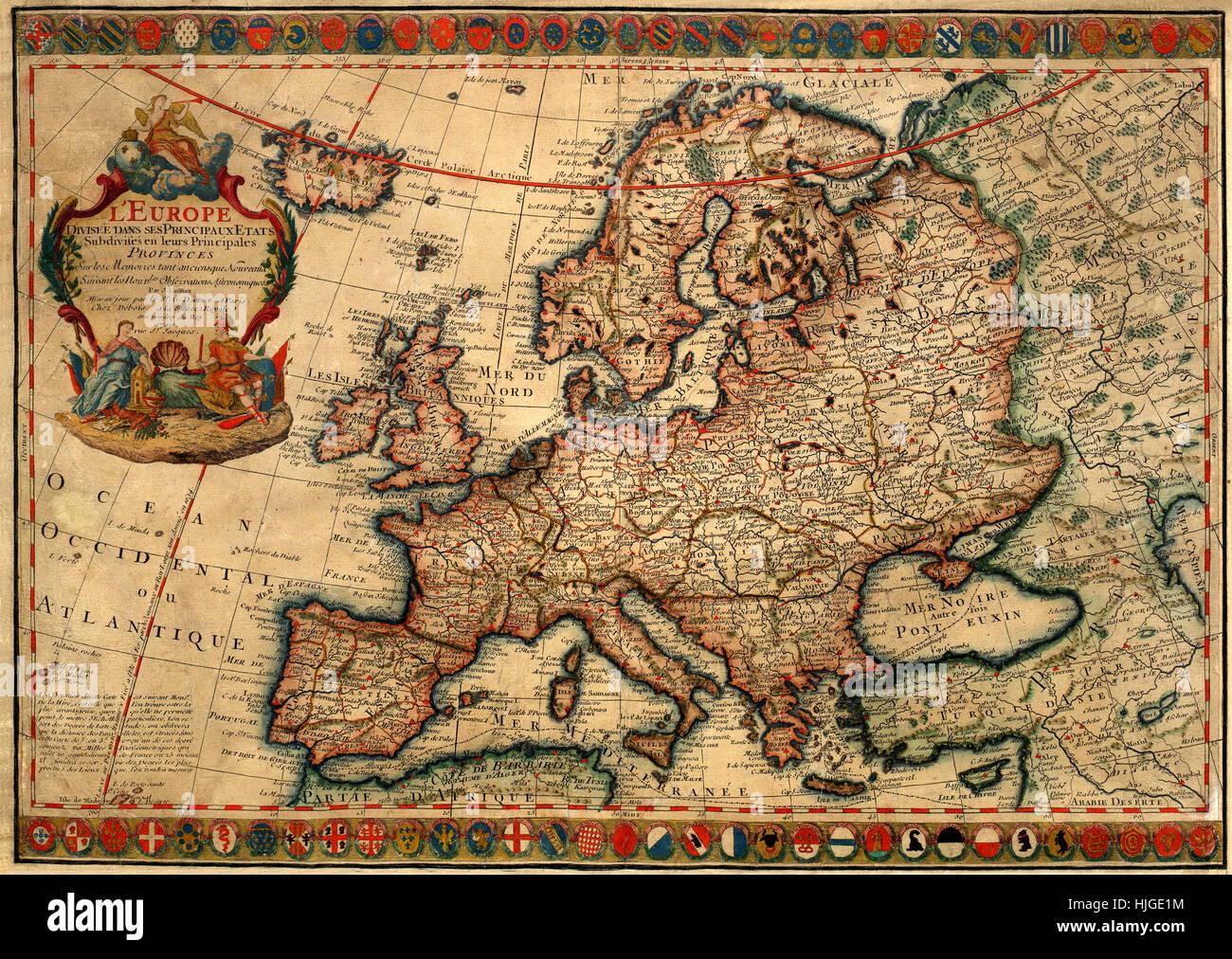 Cartina Europa 1700.Mappa Di Europa 1700 Foto Stock Alamy