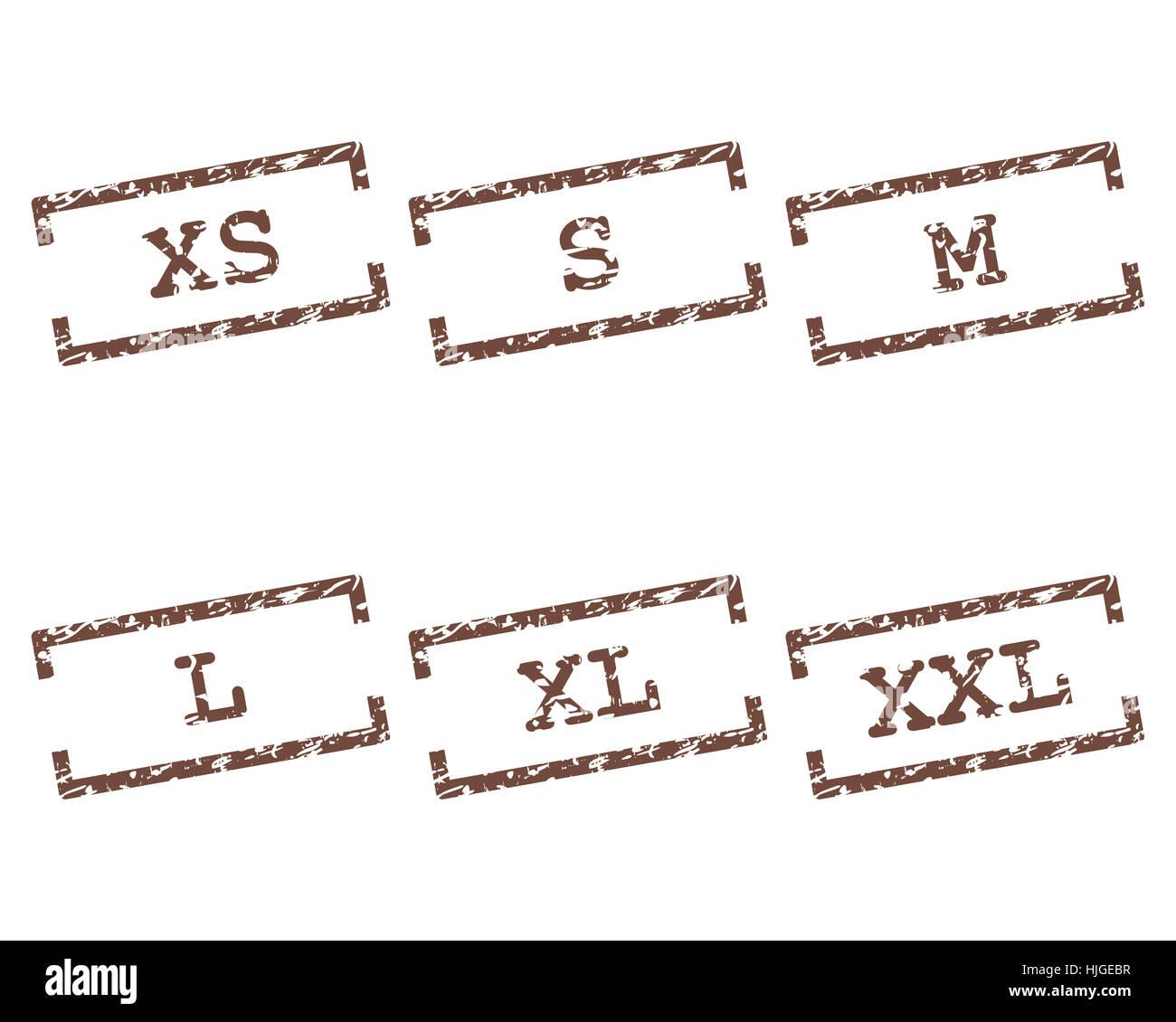 c46226214972 Abbigliamento taglie timbro Foto   Immagine Stock  131898923 - Alamy